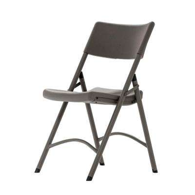 Heavy-Duty Brown Plastic Contoured Seat Outdoor Safe Folding Chair (Set of 4)