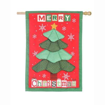 28 in. x 44 in. Christmas Tree Quilt House Linen Flag