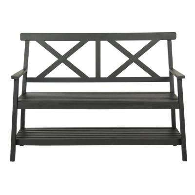 Mayer 2-Person Black Wood Outdoor Bench