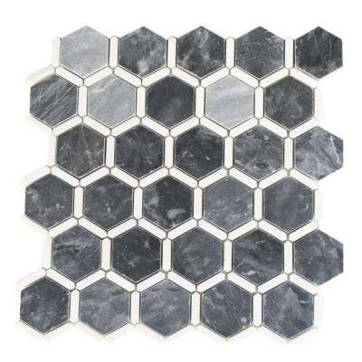 Ambrosia Dark Bardiglio and Thassos 12 in. x 12 in. x 10 mm Marble Floor and Wall Tile