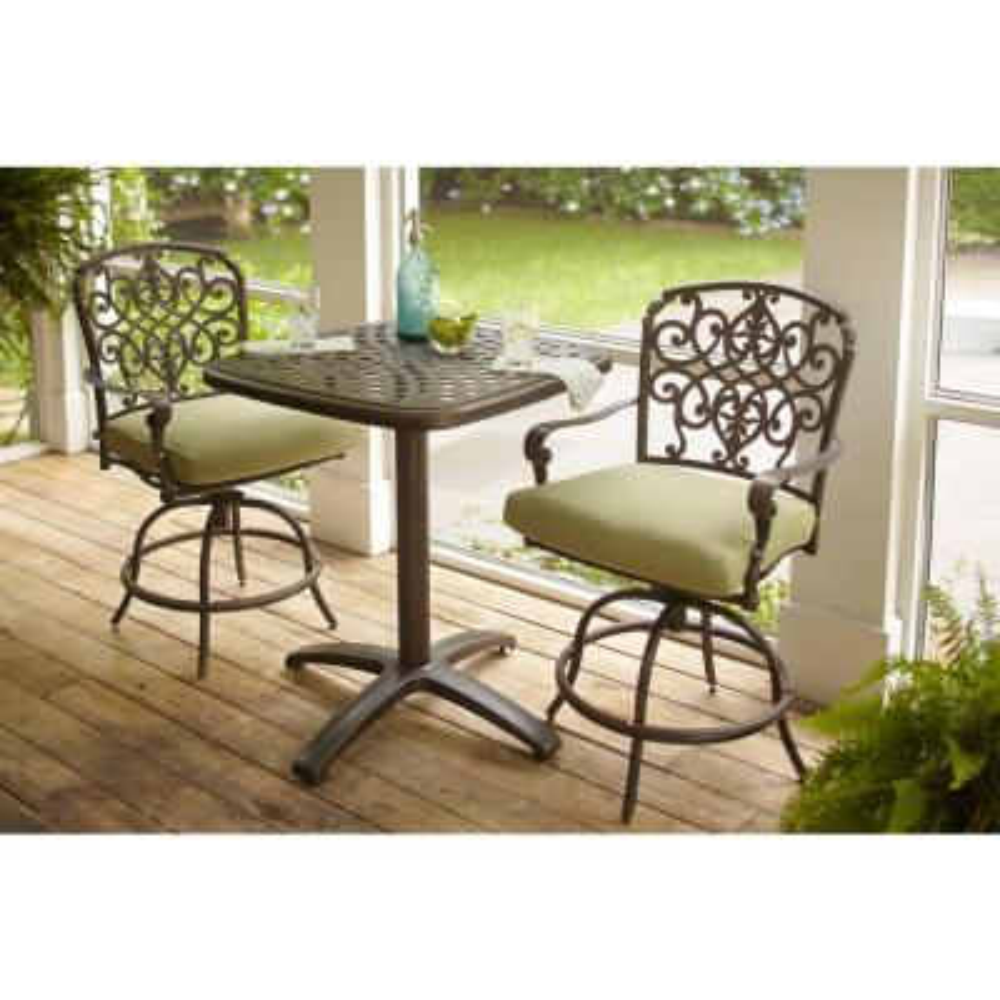 Edington Aged Bronze 3-Piece Aluminum Patio Balcony Set with Cushions Included, Choose Your Own Color
