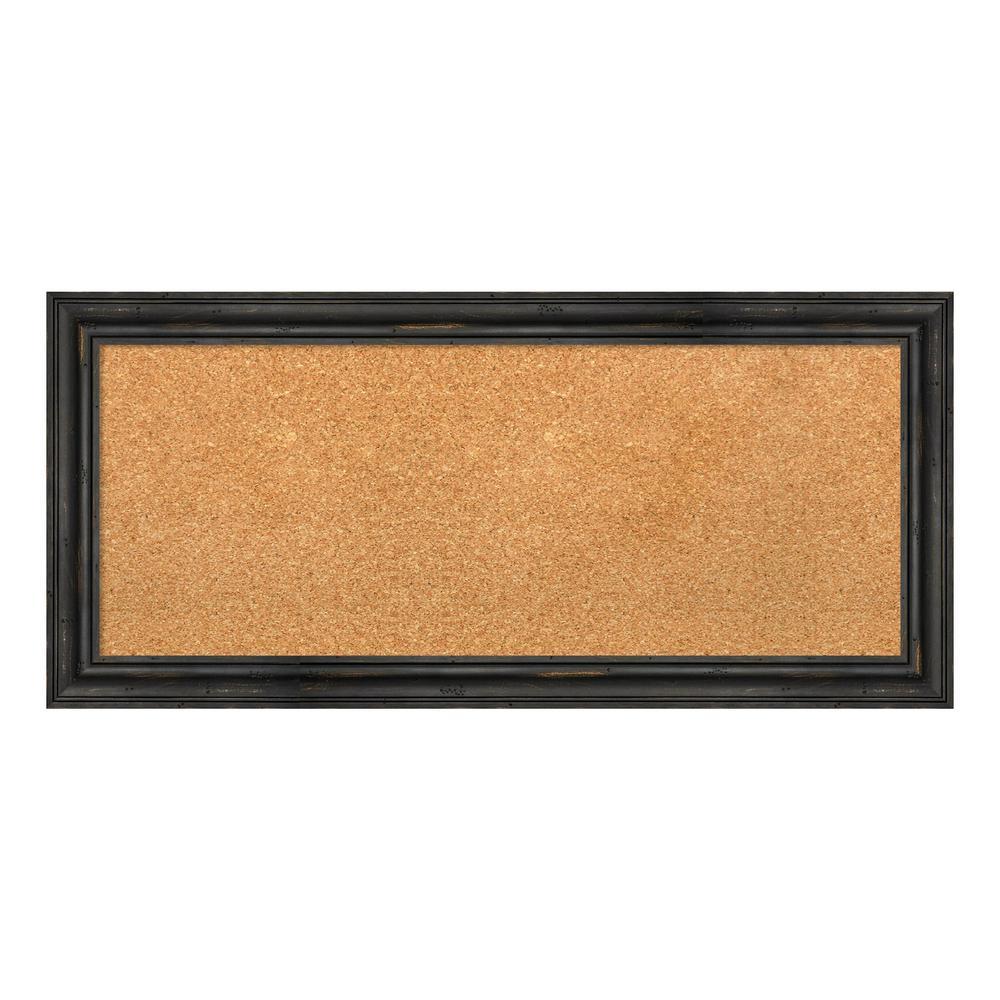 Rustic Pine Black Narrow Framed Cork Memo Board