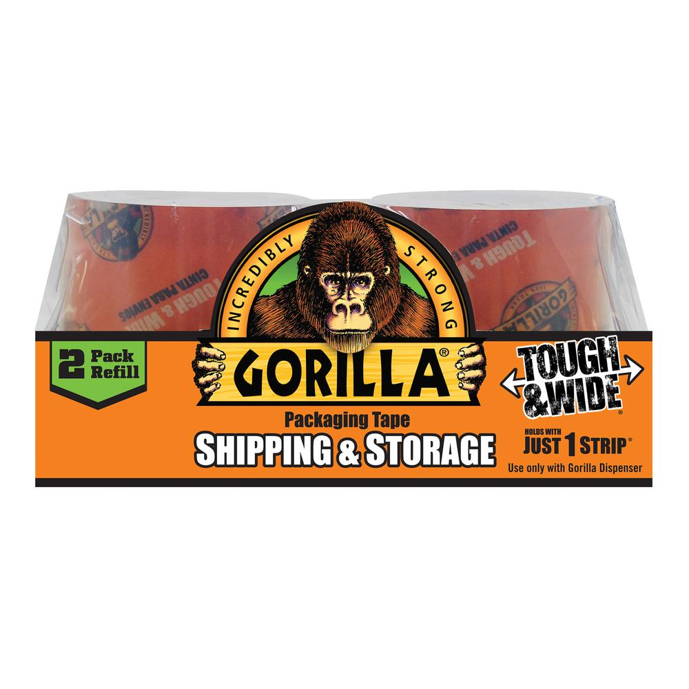 Gorilla 2.83 in. x 30 yds. Packaging Tape 2-Piece Refill (6-Pack)