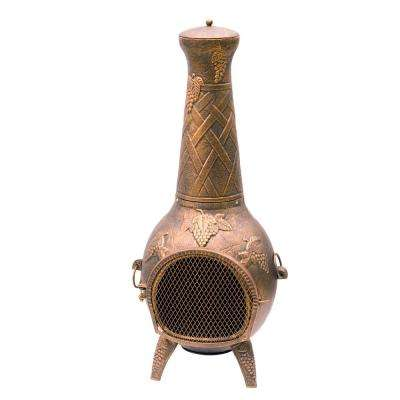 Grape Cast Metal 53 in. Tall Chimenea with Built-in Handles, Log Grate, Spark Guard Screen on Stack and Door