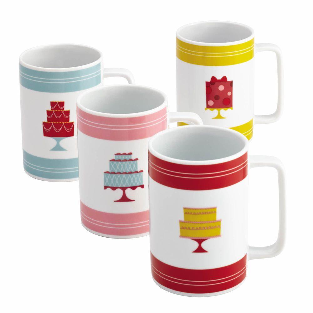 "Serveware 4-Piece Porcelain Mug Set in ""Mini Cakes"" Pattern in Print"