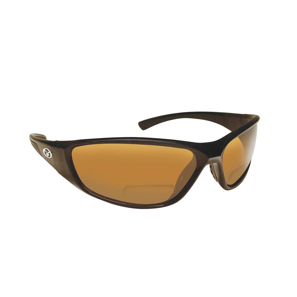 01500ec357 Falcon Polarized Sunglasses Black Frame with Amber Lens Bifocal Reader 250