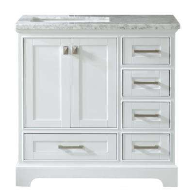 Havana 36 in. W x 22 in. D x 36 in. H Vanity with Marble Top in White with White Basin