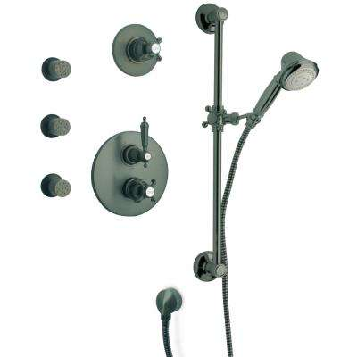 Ornellaia 3-Spray Hand Shower and Shower Head Combo Kit with Slide Bar and Body Jets in Oil Rubbed Bronze