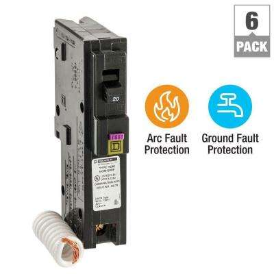 Homeline 20 Amp Single-Pole Dual Function (CAFCI and GFCI) Circuit Breaker (6-Pack)