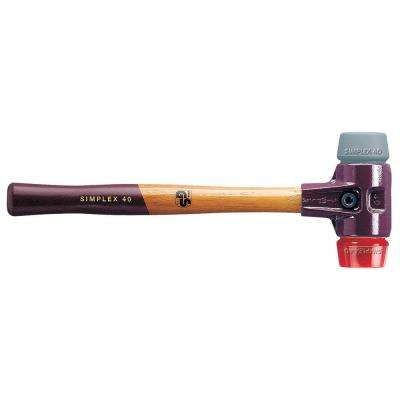 Halder Simplex 2.5 lb. Mallet with Cast Iron Housing Acacia Wood Handle Red Plastic Face and Gray Rubber Face