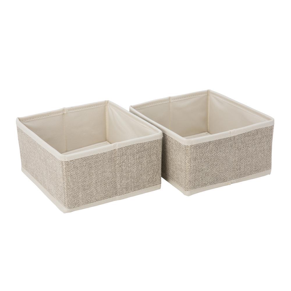 Simplify Square Medium Faux Jute 2 Pack Compartment Drawer Organizer