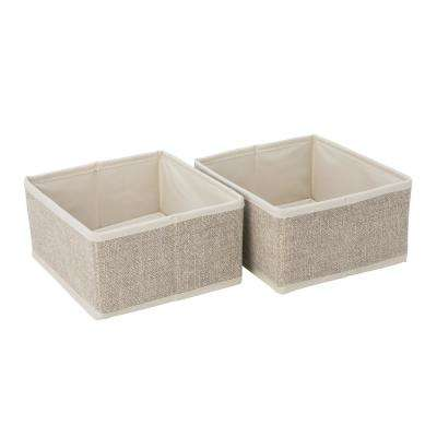 Square Medium Faux Jute 2 Pack Compartment Drawer Organizer