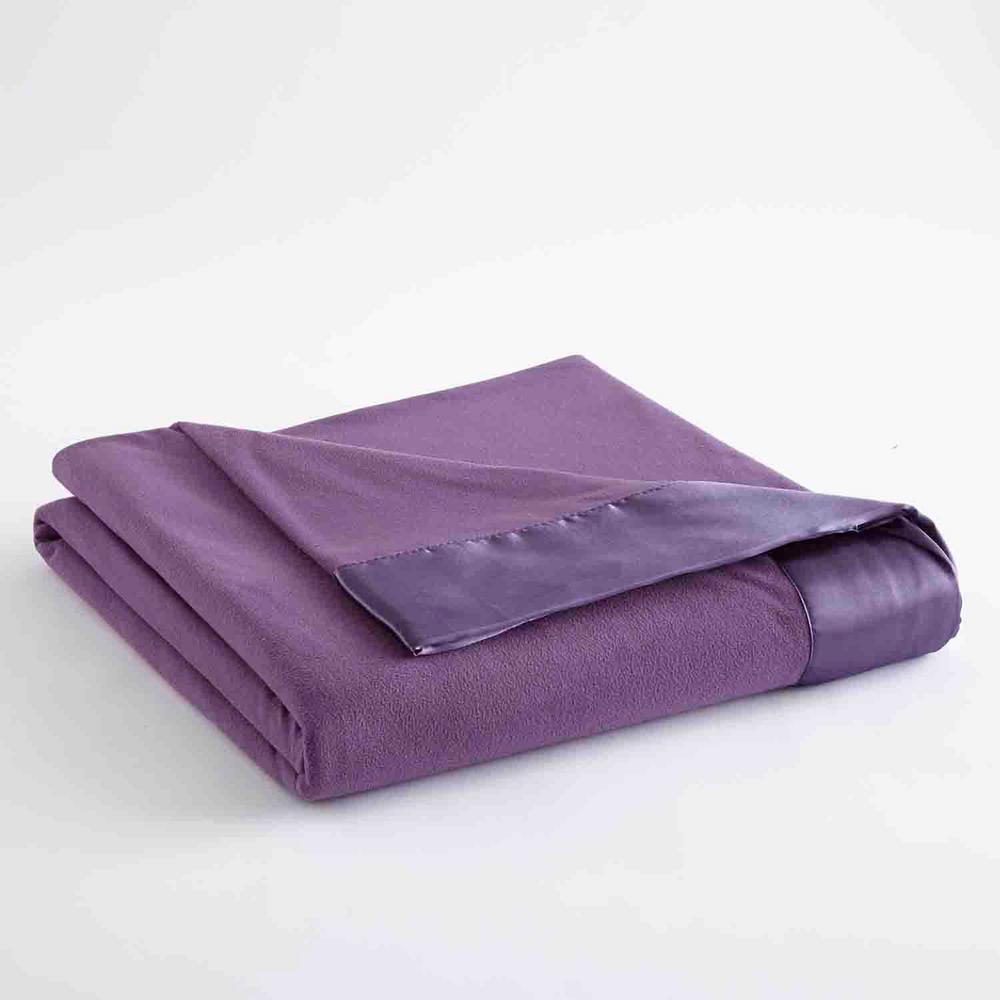 Micro Flannel All Seasons Lightweight Plum Solid Queen Flat Sheet