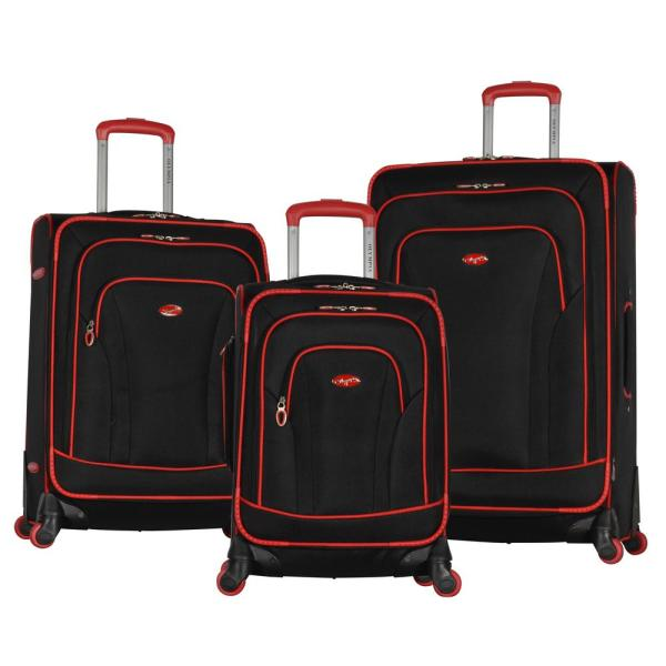 c2f5a4575 Olympia USA Santa Fe 3-Piece Black/Red Expandable EVA Spinner Set OF ...