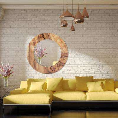 """36 in. x 36 in. """"Forest"""" Round Beveled Mirror on Free Floating Reverse Printed Tempered Art Glass"""