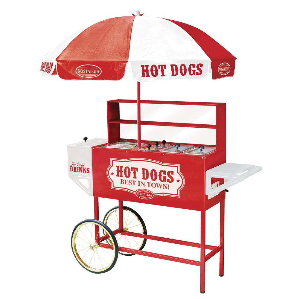 nostalgia vintage collection carnival hot dog cart with umbrella hdc rh homedepot com