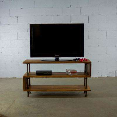 New Age 48 in. Dark Brown Reclaimed Wood TV Stand Fits TVs Up to 57 in. with Open Storage