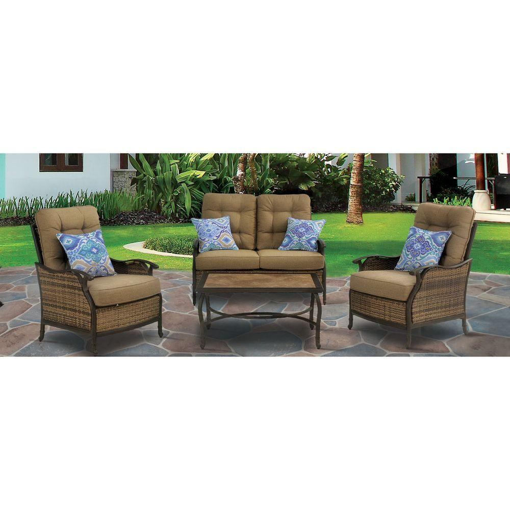 Hanover Hudson Square 4 Piece Deep Seating Patio Lounge Set With Teak Cushions