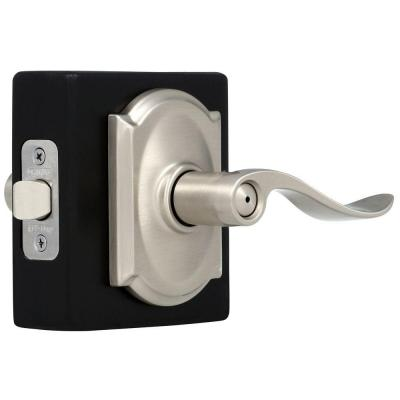 Accent Satin Nickel Privacy Bed/Bath Door Lever with Camelot Trim