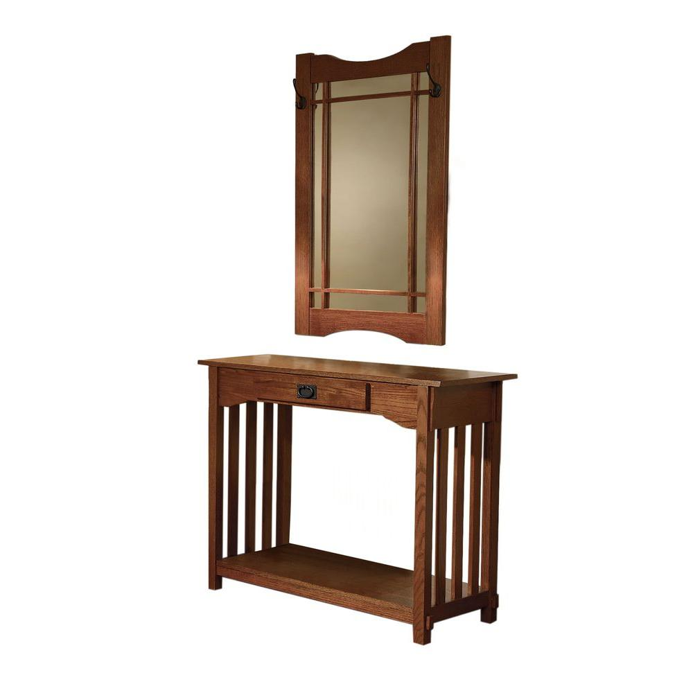Home Depot Foyer Table : Powell mission oak storage console table and mirror