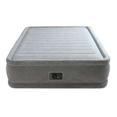 Comfort Plush Elevated Queen Mattress Air bed with Built-in Pump in Gray