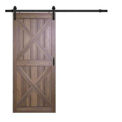 36 in. x 84 in. Gunstock Oak Double X Design Solid Core Interior Barn Door with Rustic Hardware Kit