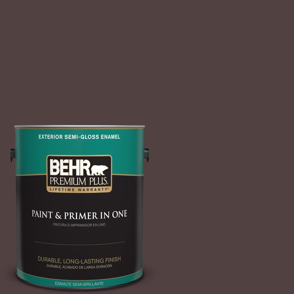 BEHR Premium Plus 1-gal. #BXC-87 Rich Bordeaux Semi-Gloss Enamel Exterior Paint
