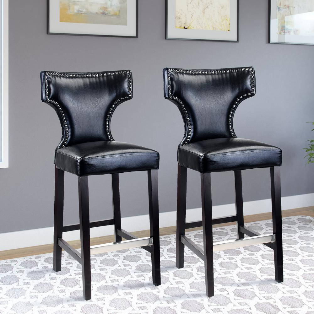 Kings 29 in. Black Bonded Leather Bar Stool (Set of 2)