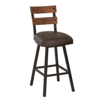 Saugus 26 in. Counter Height Metal Swivel Barstool in Bandero Espresso Fabric and Auburn Bay with Walnut Wood Back