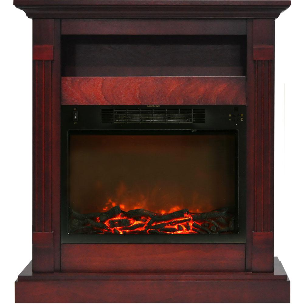 Cambridge Sienna 34 in. Electronic Fireplace Mantel with Insert in Cherry