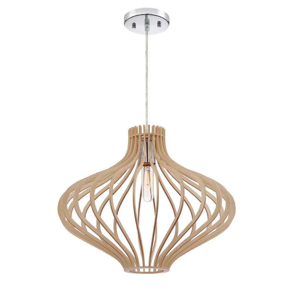 Sanaa 1-Light Kula Wood Hanging Pendant