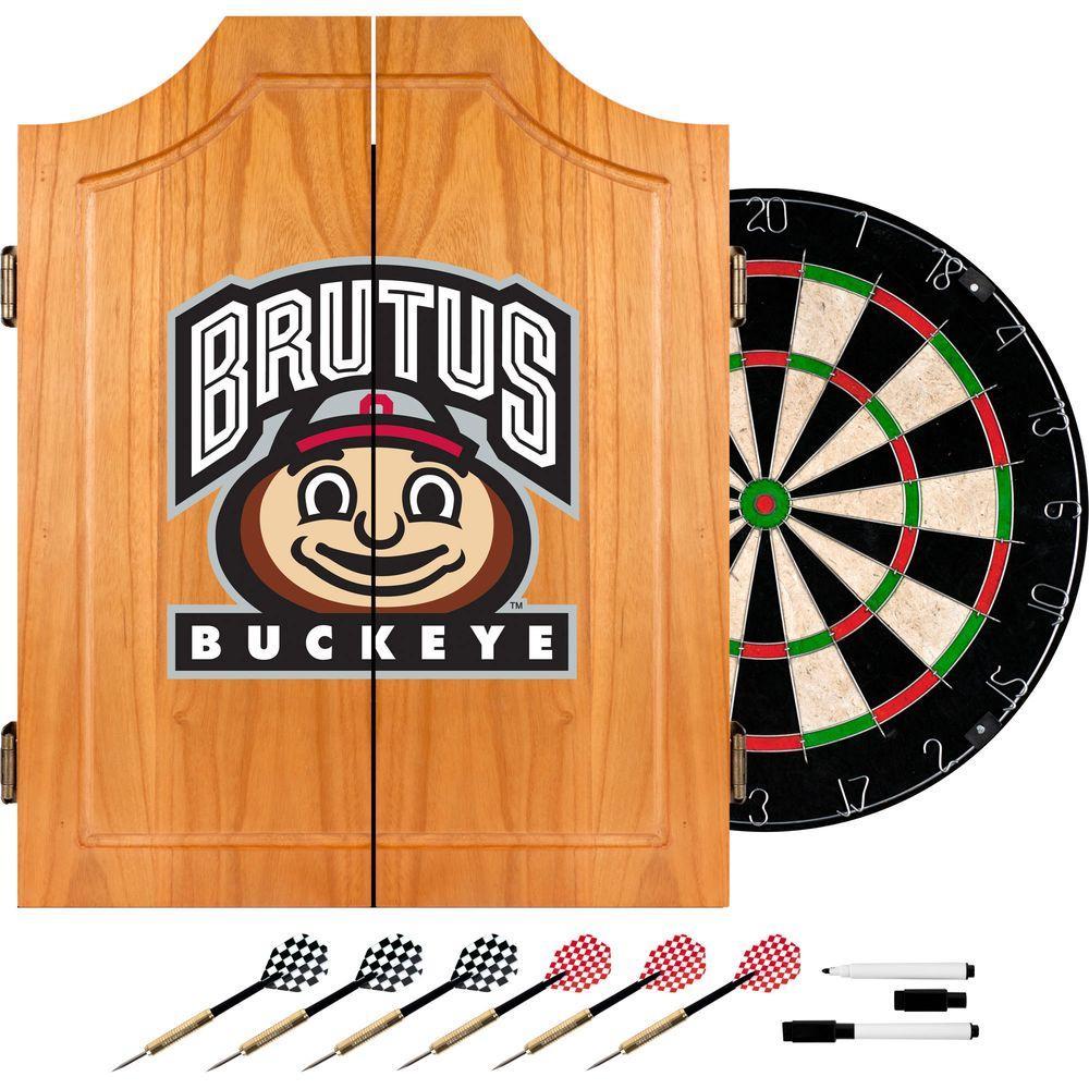 Trademark Ohio State University Brutus Buckeye Wood Finish Dart Cabinet Set