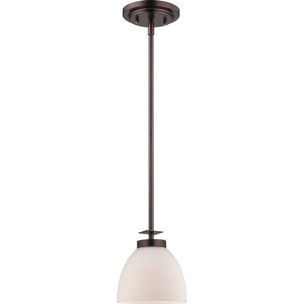 1-Light Hazel Bronze Mini Pendant with Frosted Glass Shade