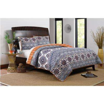 Medina 3-Piece Saffron Full and Queen Quilt Set