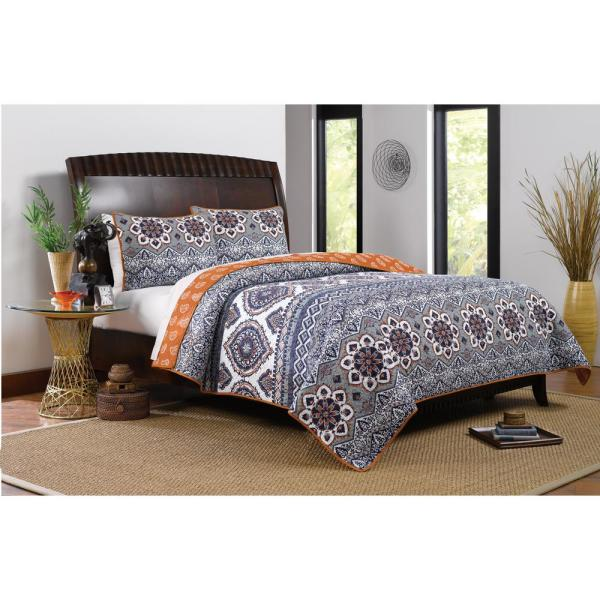 Greenland Home Fashions Medina 3-Piece Saffron Full and Queen Quilt Set