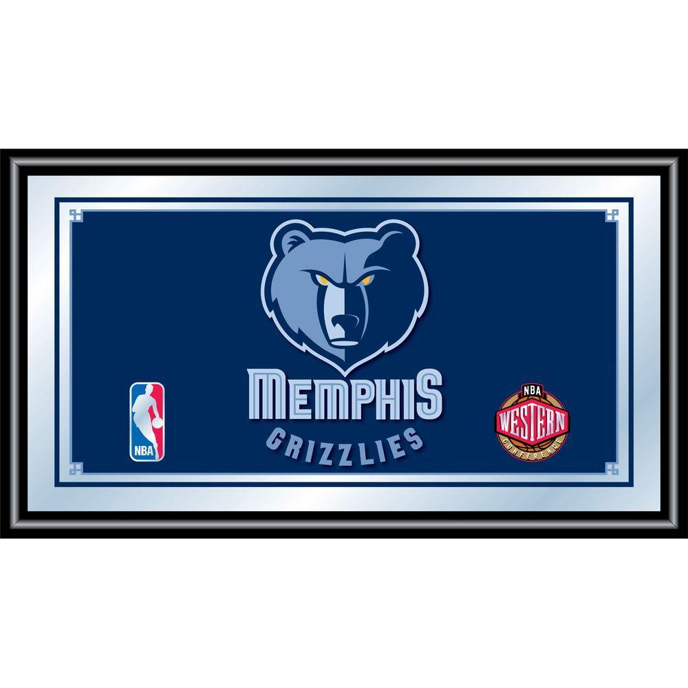 Memphis Grizzlies NBA 15 in. x 26 in. Black Wood Framed Mirror