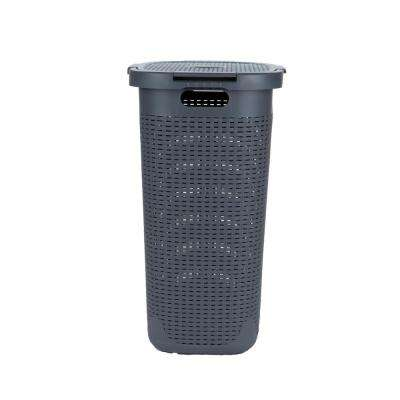 50-Liter Gray Plastic Laundry Basket with Cutout Handles