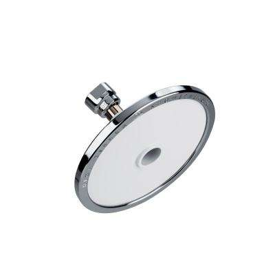 Tenaya PLUS 1-Spray 5 in. Round Fixed Shower Head with All Metal Construction in Powder Coated White with Chrome Accents