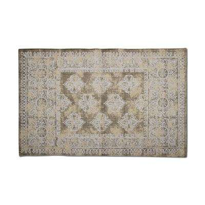 Medallion Beige 3 ft. x 5 ft. Indoor Dhurrie Area Rug