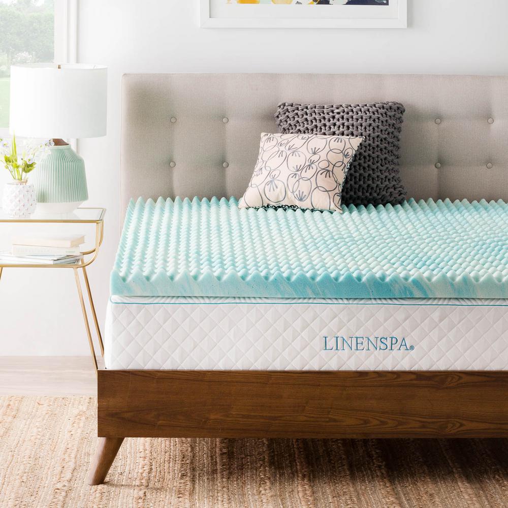 Linenspa 2 in King Mattress Topper Convoluted Gel Swirl Memory Foam Ventilation
