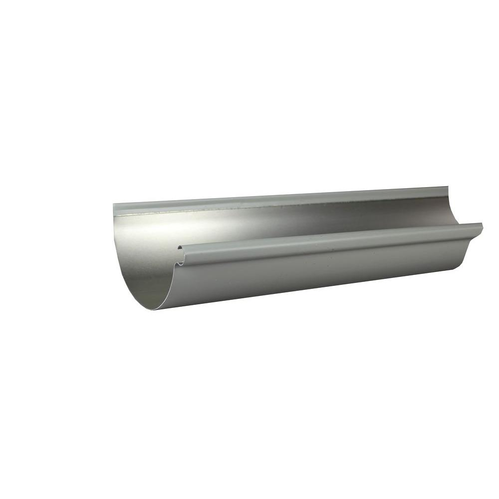 6 in. x 10 ft. Half Round Dove Gray Aluminum Gutter