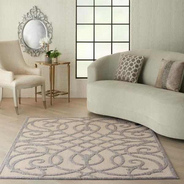 Reviews For Nourison Palamos Cream Grey 4 Ft X 6 Ft Geometric Contemporary Indoor Outdoor Area Rug 774989 The Home Depot