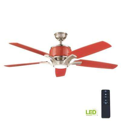 Raymont 52 in. Integrated LED Indoor Brushed Nickel and Red Ceiling Fan with Light Kit and Remote Control