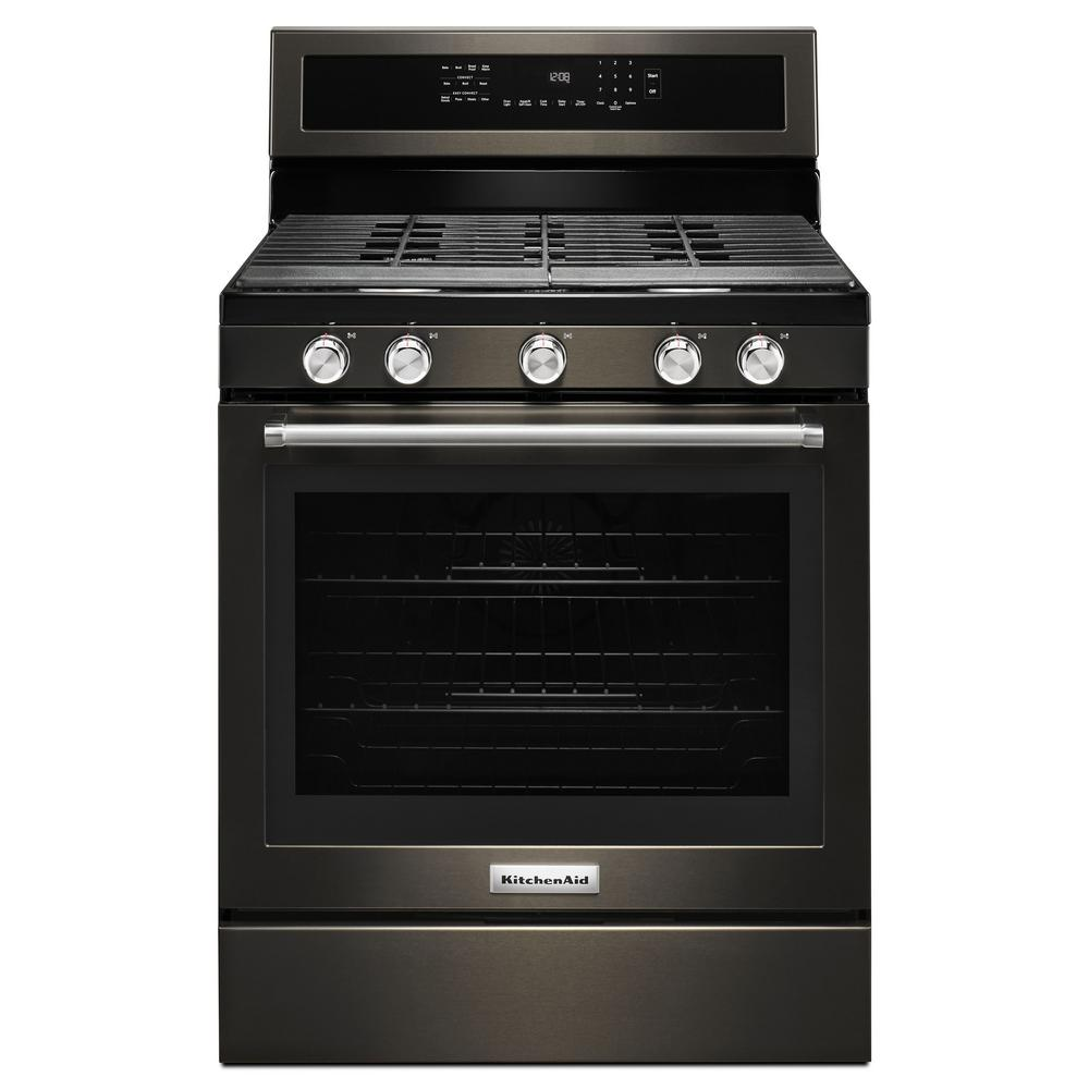 5.8 cu. ft. Gas Range with Self-Cleaning Oven in Black Stainless