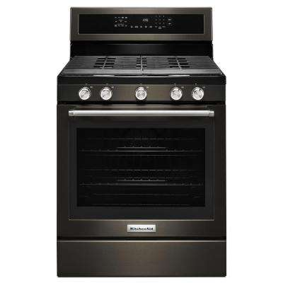 30 in. 5.8 cu. ft. Gas Range with Self-Cleaning Oven in Black Stainless