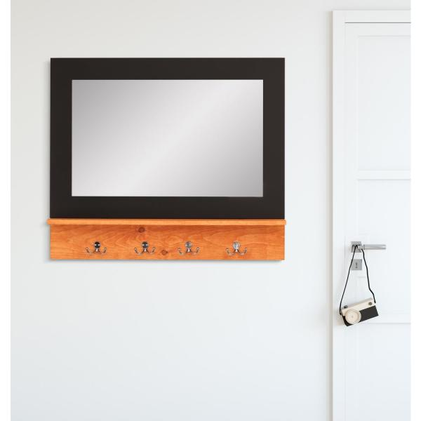 BrandtWorks Matte Black Small Mirror with Maple Shelf and 4-Silver Peg