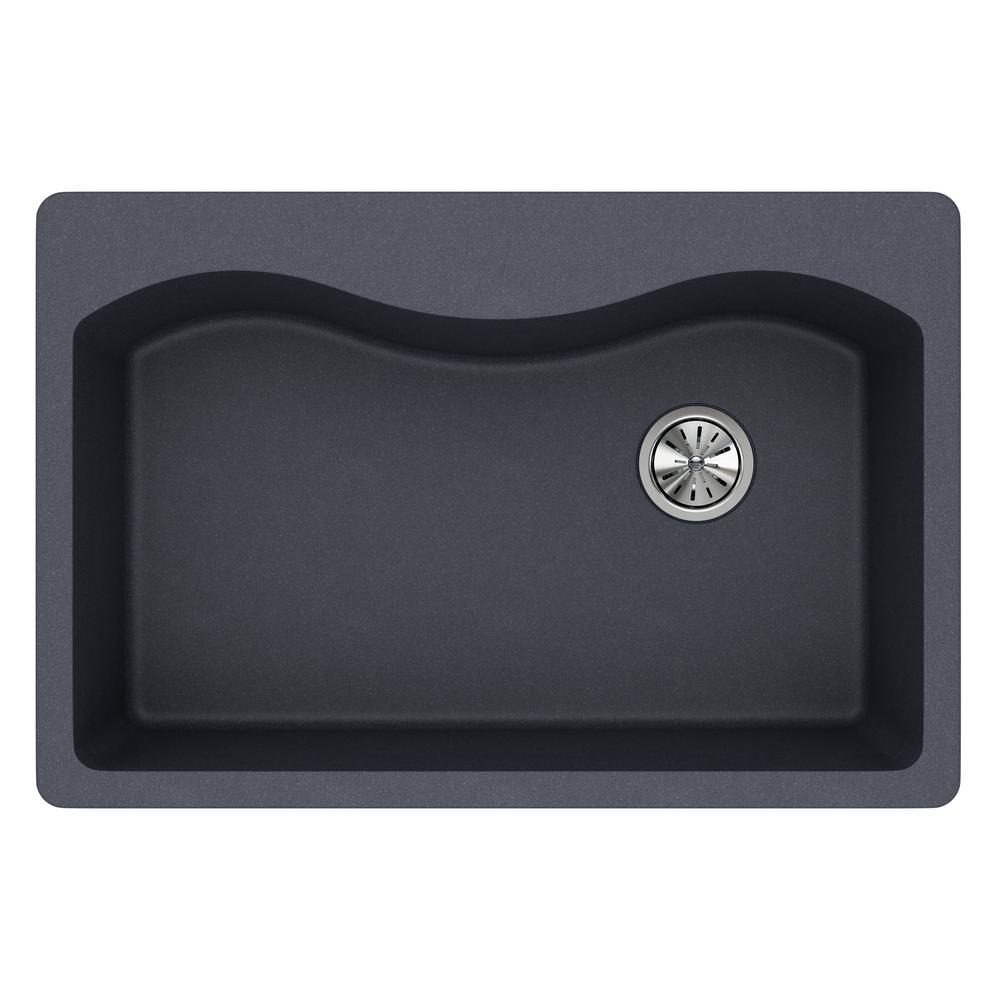 Quartz Classic Drop-In Composite 33 in. Single Bowl Kitchen Sink in Dusk Gray