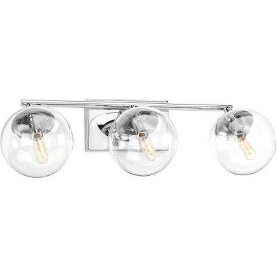 Mod Collection 3-Light Polished Chrome Bathroom Vanity Light with Glass Shades