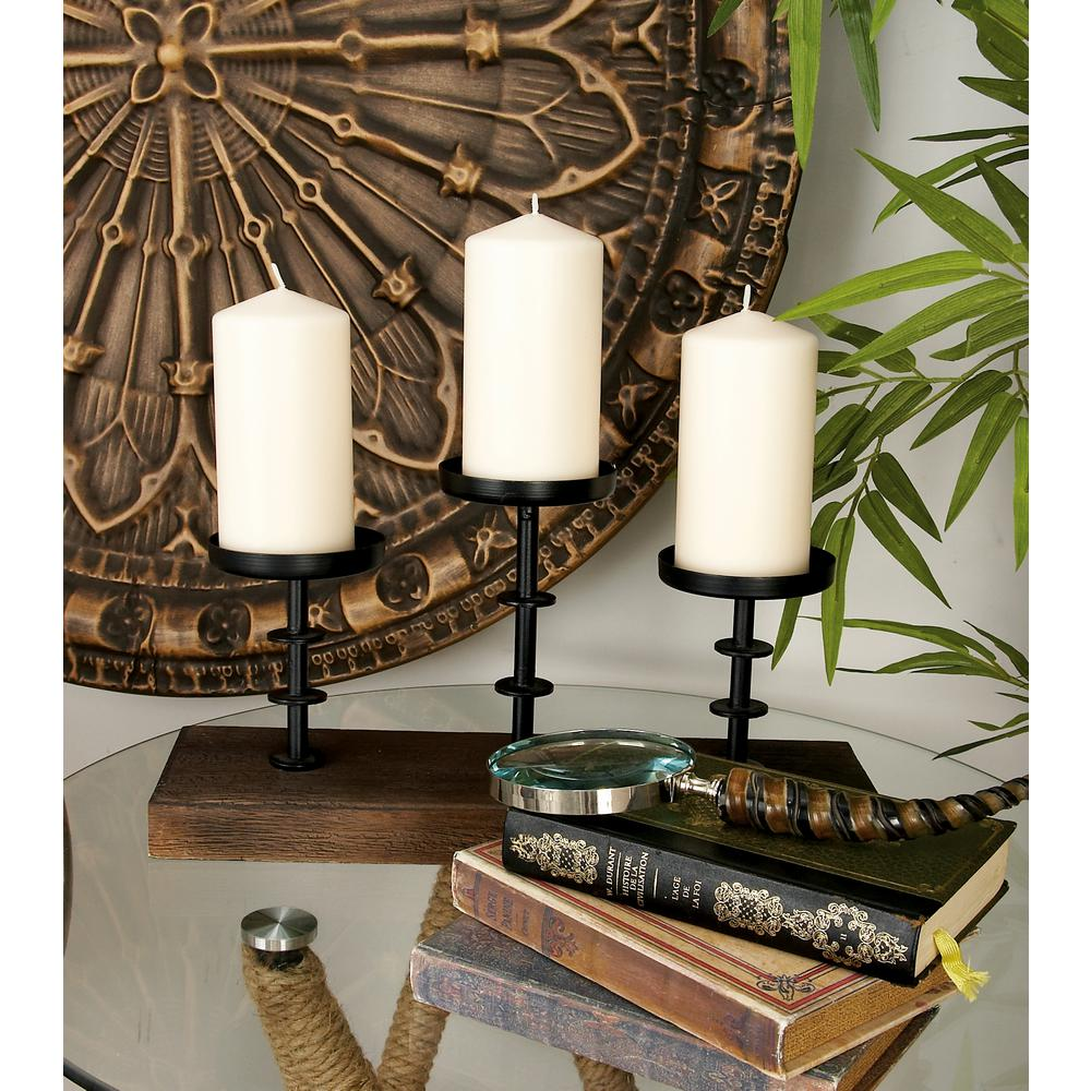 12 in. Walnut Brown Wood and Black Iron Votive Candle Holder