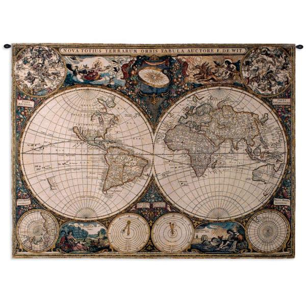 Old World Map Multi Colored Wall Tapestry 1447-WH - The Home Depot